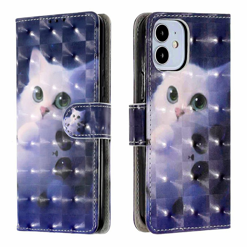 Magnetic PU Leather Wallet Card Case Flip Cover for iPhone 12 - Cute Cat
