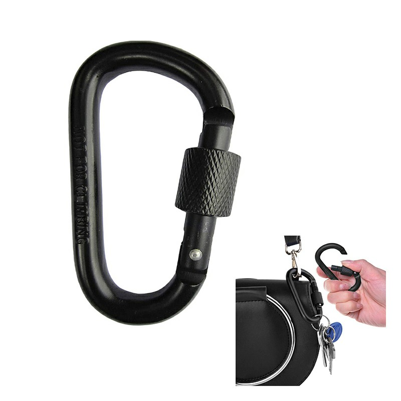Carabiner Aluminum Screw Locking Spring Clip Hook Outdoor D Shaped Keychain Buckle - Black