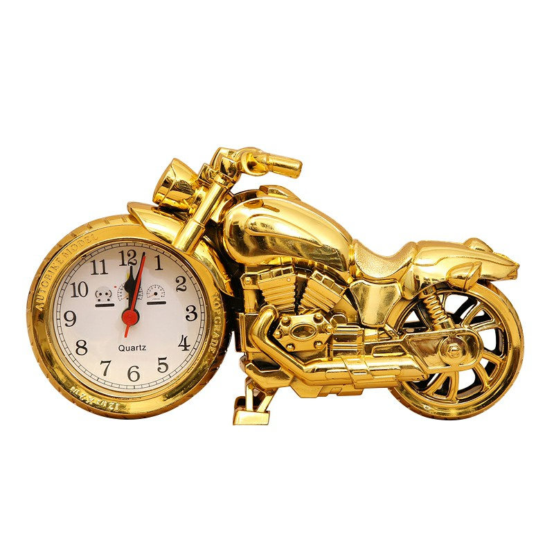 Fashion Creative Motorcycle Alarm Clock Home Decoration Wall Clock Desktop Clock - Gold