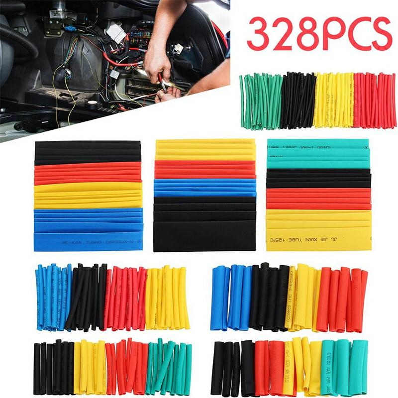 328 pcs Polyolefin Heat Shrink Tubing Tube Sleeve Wrap Wire Assortment 8 Size