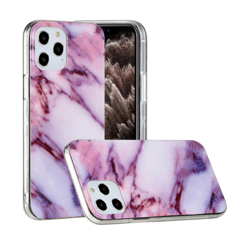 Marble Design Shockproof Soft Silicone Rubber TPU Case for iPhone 12 Pro - Purple