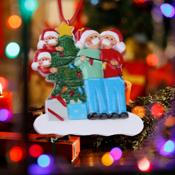 Christmas Tree Ornament 2020 Quarantine Family Xmas Lockdown Decoration - 4 Heads
