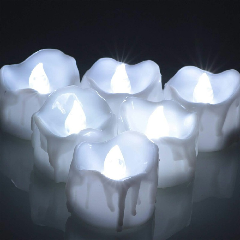 12PCS Flameless LED Candle Flickering Tea Light Battery Operated Lamp - Cool Light Steady on