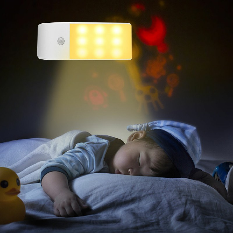 12 LED Motion Sensor Lights PIR Wireless Night Light USB Cabinet Stair Lamp - Warm Light
