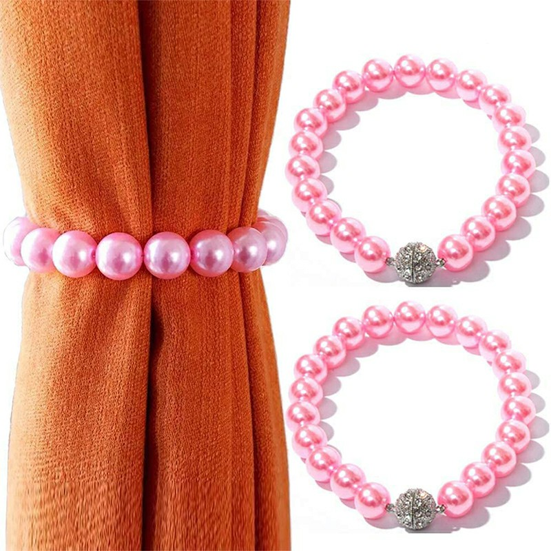 2 pcs Pearl Beaded Curtain Tie Backs Clips Metal Strong Buckle Decorative Holdbacks - Pink
