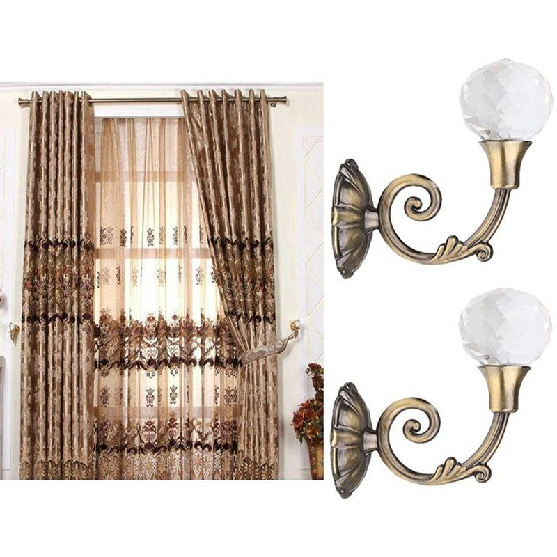 2 pcs Durable Large Metal Crystal Curtain Holdback Wall Tie Backs Hooks Hanger - Bronze