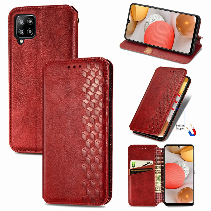 Magnetic Buckle PU Leather Wallet Flip Stand Case Cover for Samsung Galaxy A42 5G - Red