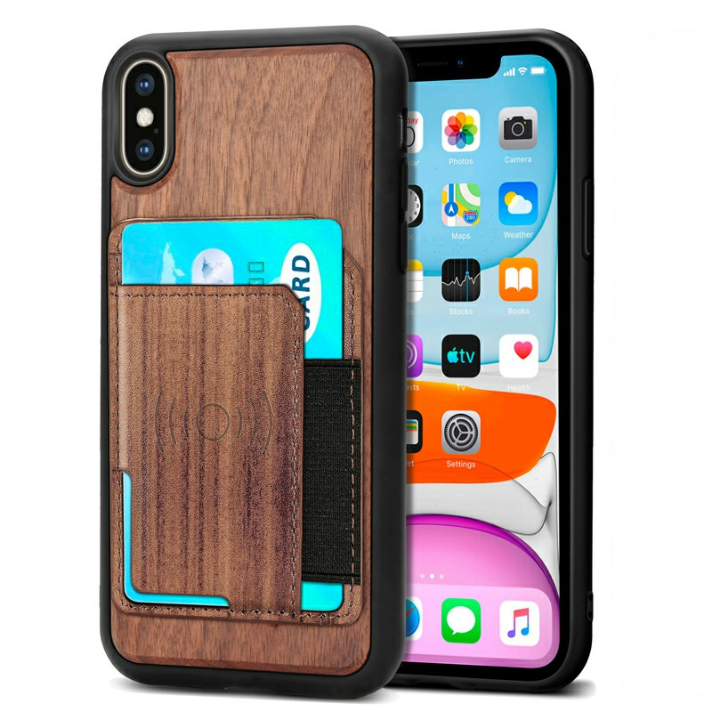 Real Natural Wood Phone Case Protective Back Cover for iPhone XS Max - Walnut
