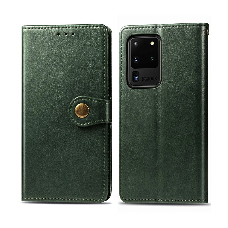 Magnetic PU Leather Wallet Case Cover for Samsung Galaxy S20 Ultra - Green