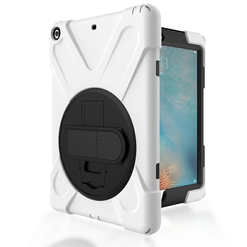 Heavy Duty Rugged PC Silicone Case with Rotating Bracket for Apple iPad 5 iPad Air - White