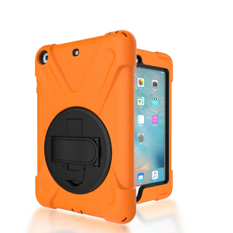 Heavy Duty Rugged PC Silicone Case with Rotating Bracket for iPad Min 1/2/3 - Orange