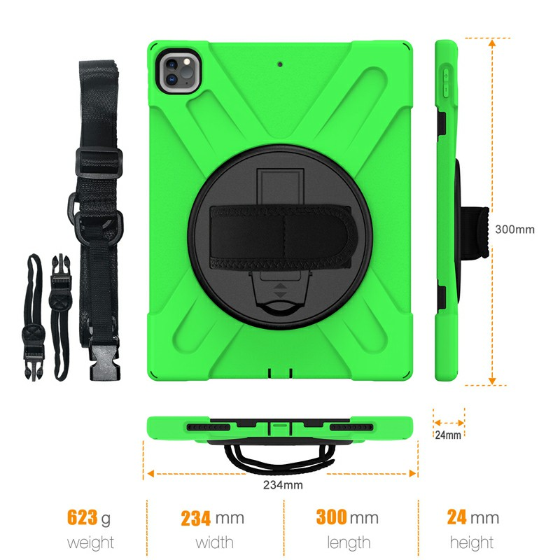Shockproof Stand 360 Degree Rotation Back Cover Bags for iPad Pro 12.9 inch 2018/2020 - Green