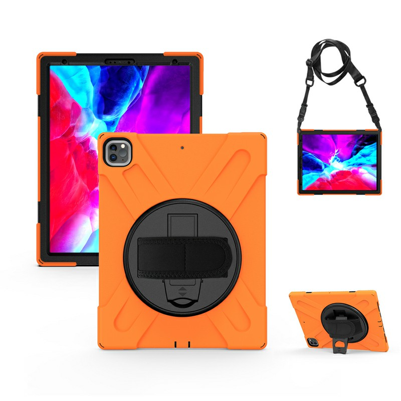 Shockproof Stand 360 Degree Rotation Back Cover Bags for iPad Pro 12.9 inch 2018/2020 - Orange