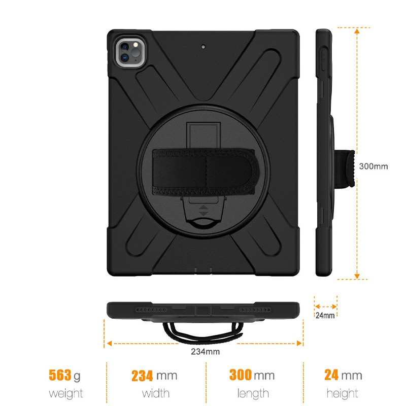 Shockproof Stand 360 Degree Rotation Back Cover Bags for iPad Pro 12.9 inch 2018/2020 - Black
