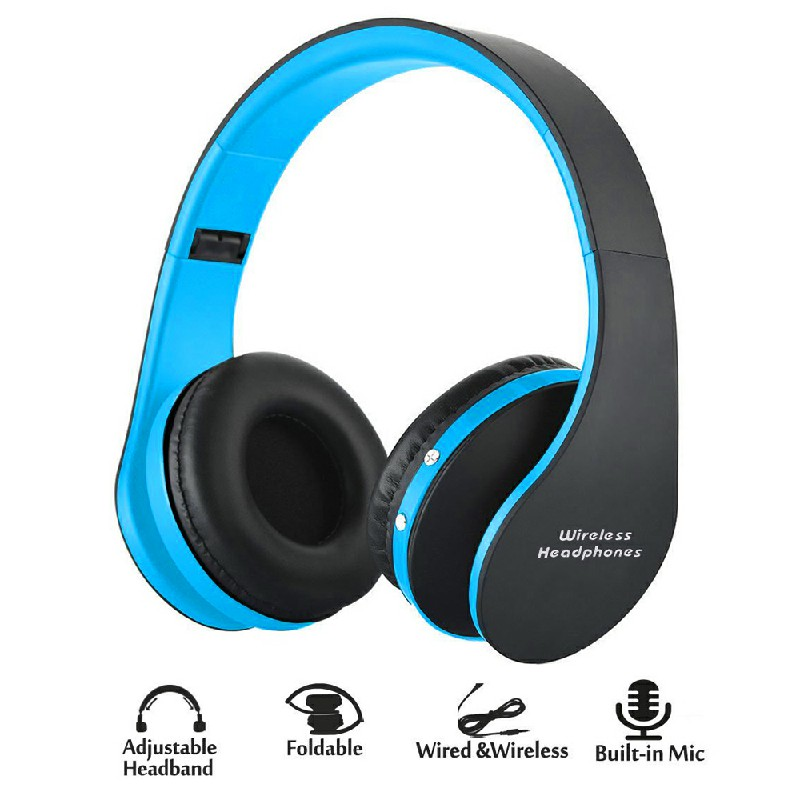 Foldable Wireless Bluetooth Stereo Headset Headphones with Mic - Blue