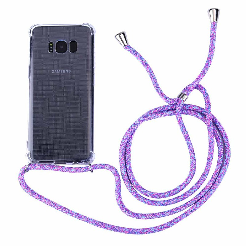 Silicone Protection Phone Case Back Cover with Strap Lanyard for Samsung Galaxy S8 - Blue Rainbow