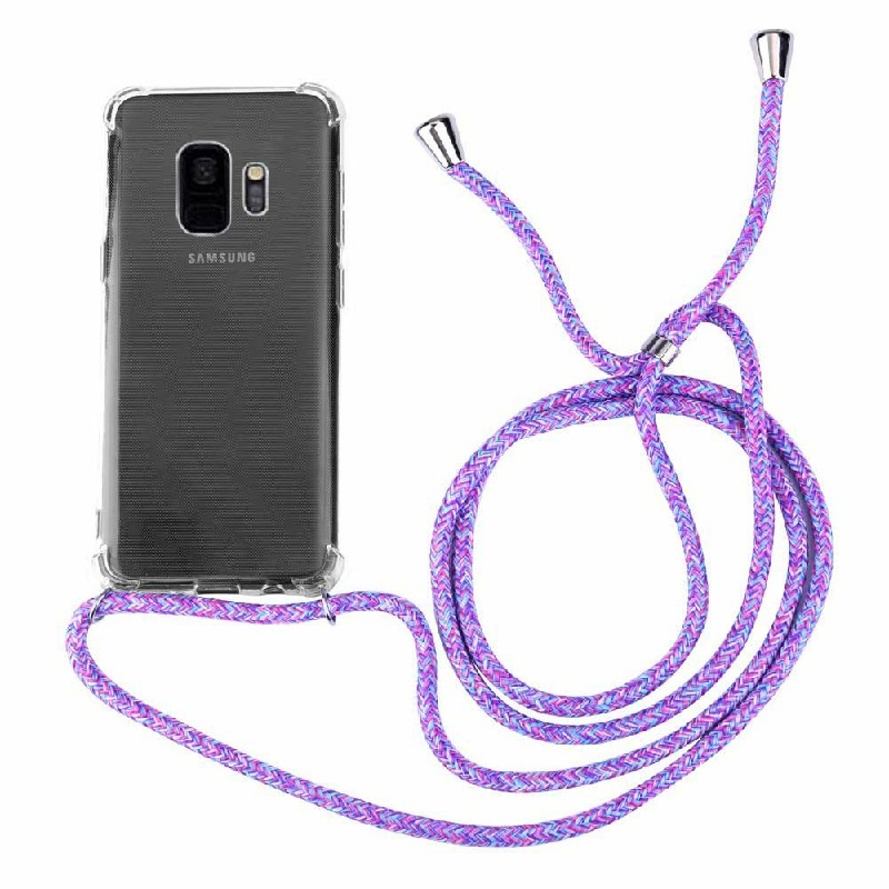 Silicone Protection Phone Case Back Cover with Strap Lanyard for Samsung Galaxy S9 - Blue Rainbow