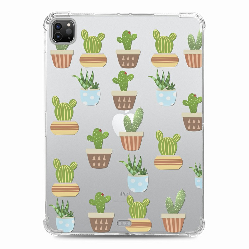 Soft TPU Painted Protective Back Cover Snap-on Case for iPad Pro 12.9 inch - Cartoon Cactus