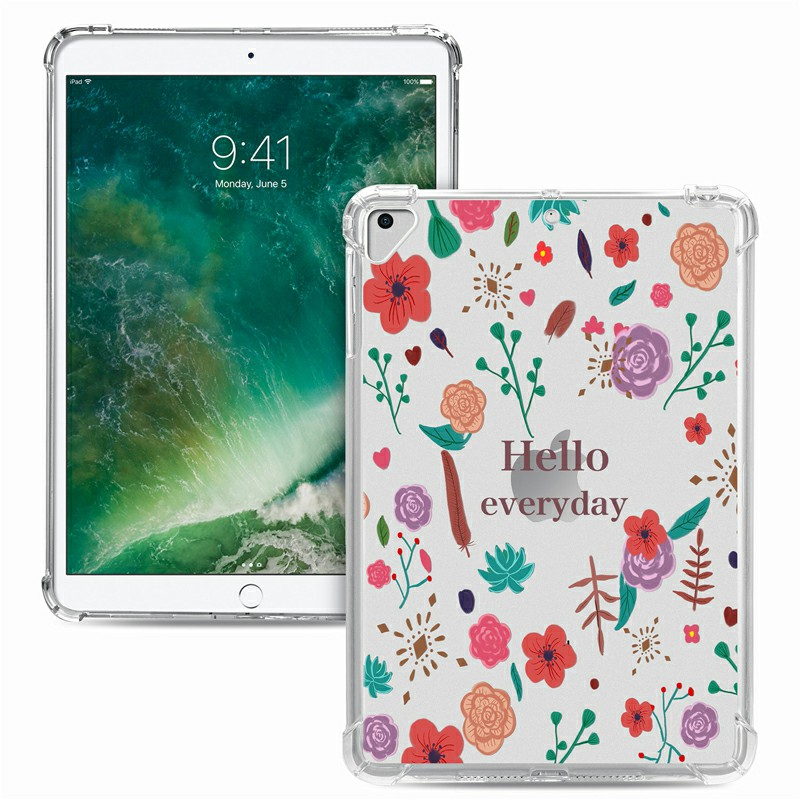 Soft TPU Painted Protective Back Cover Snap-on Case for iPad 9.7 inch - Hello Every Day