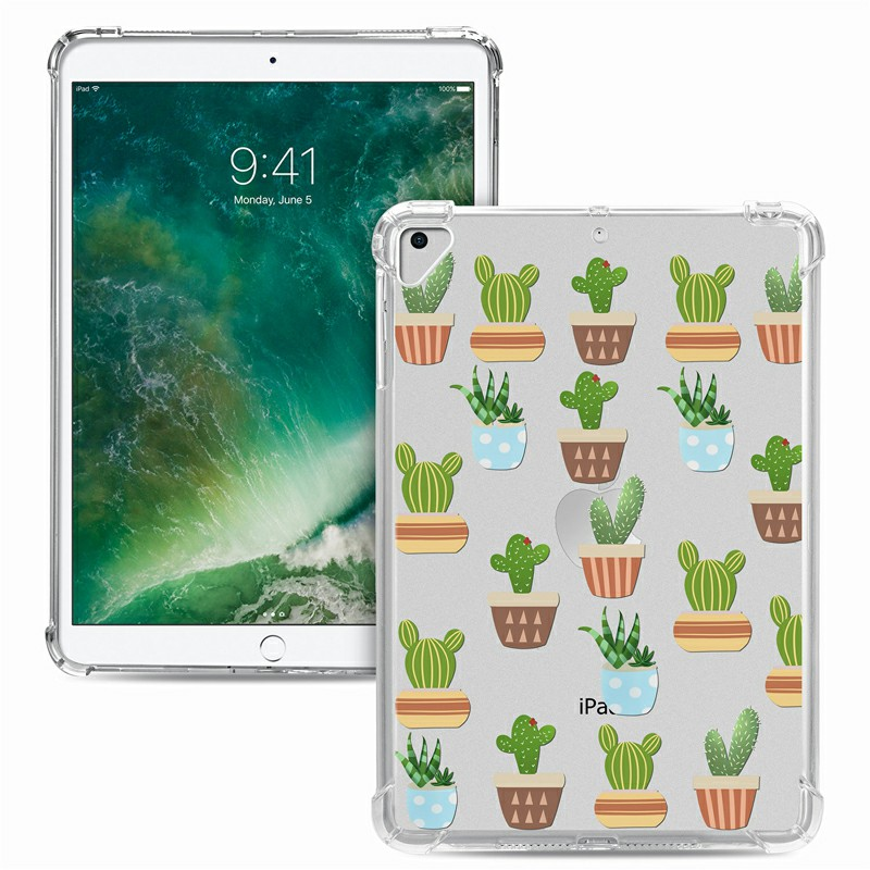 Soft TPU Painted Protective Back Cover Snap-on Case for iPad 9.7 inch - Cactus