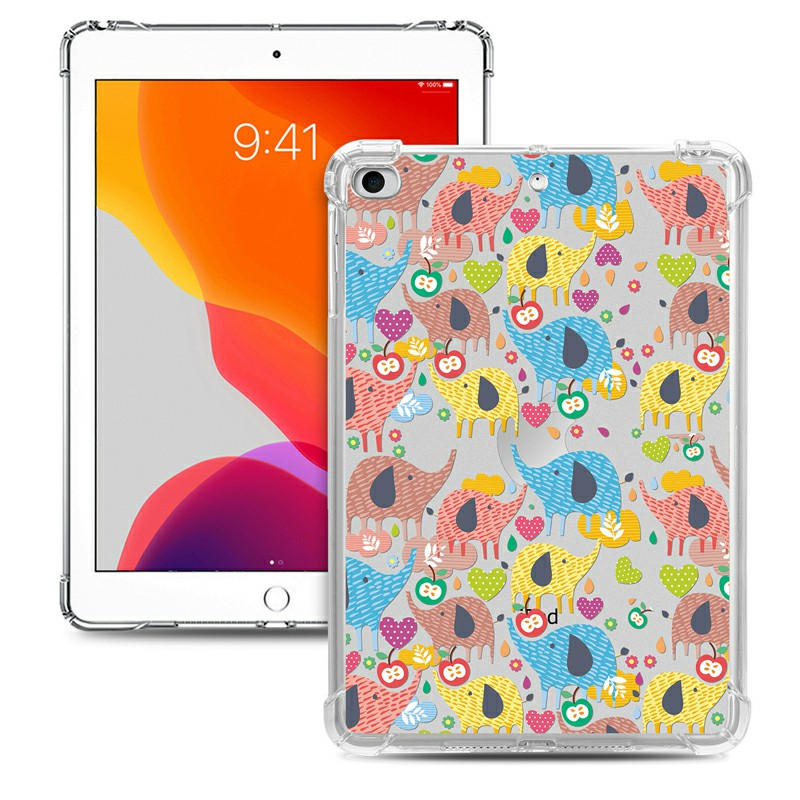 Soft TPU Painted Protective Back Cover Snap-on Case for iPad Mini 1/2/3/4/5 - Colorful Elephant