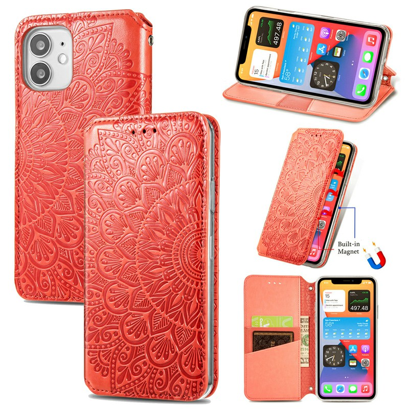 Magnetic PU Leather Wallet Case Flip Card Cover for iPhone 12 Mini - Red