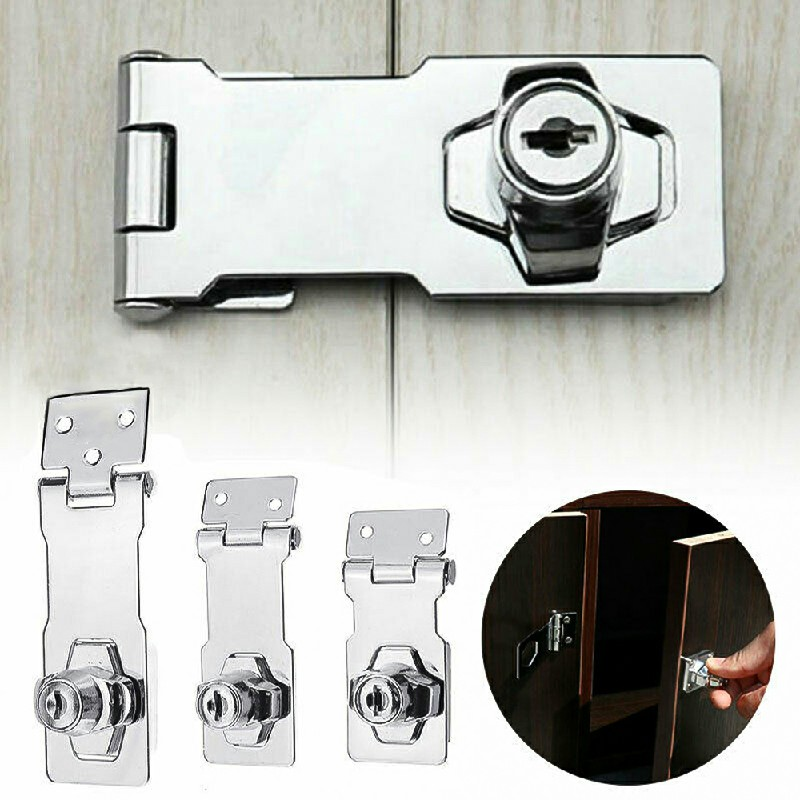 Locking Hasp and Staple with Keys Padlock Cupboard Shed Garage Lock - 2.5 inch Silver
