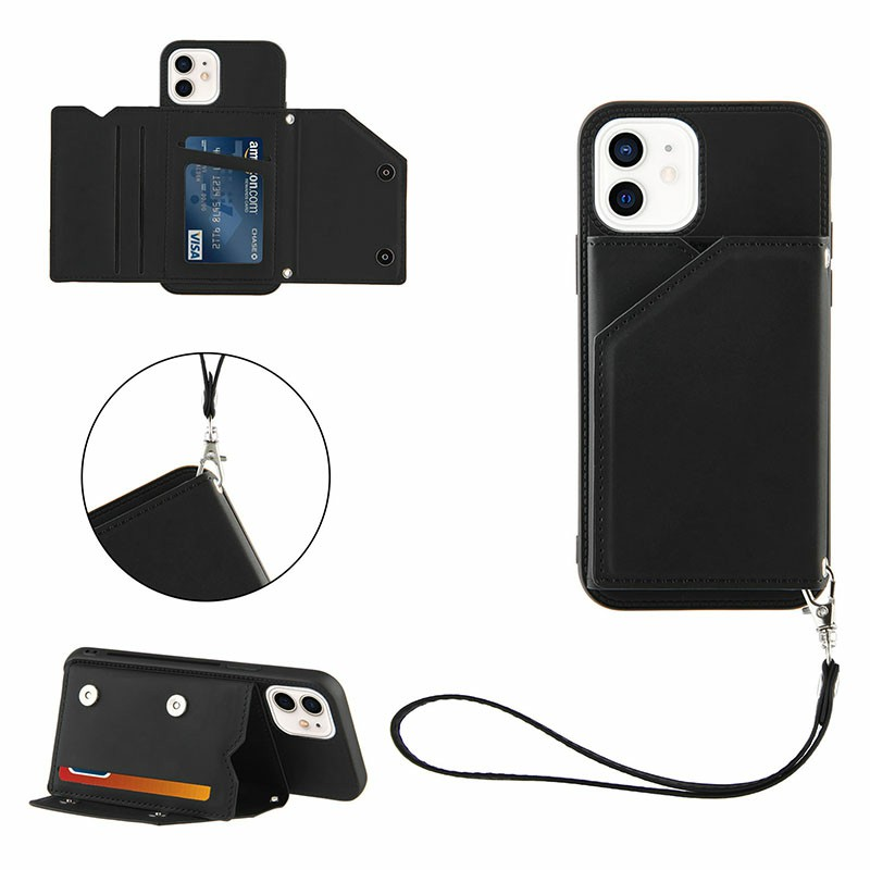 Wallet Card Case Leather Flip Stand Cover Case for iPhone 12 Mini - Black
