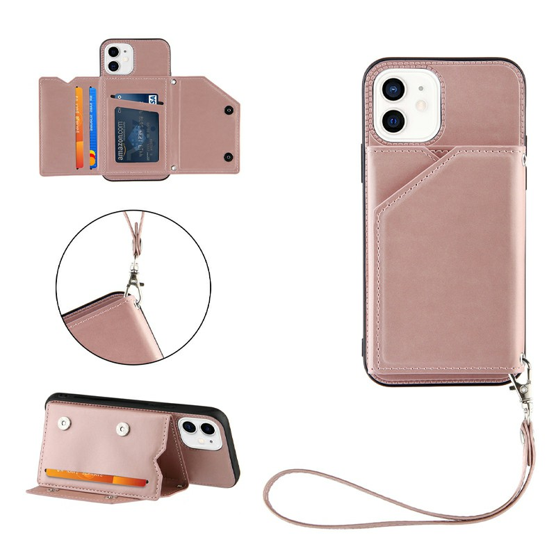 PU Leather Folio Stand Cover Case with Lanyard for iPhone 11 - Rose Gold