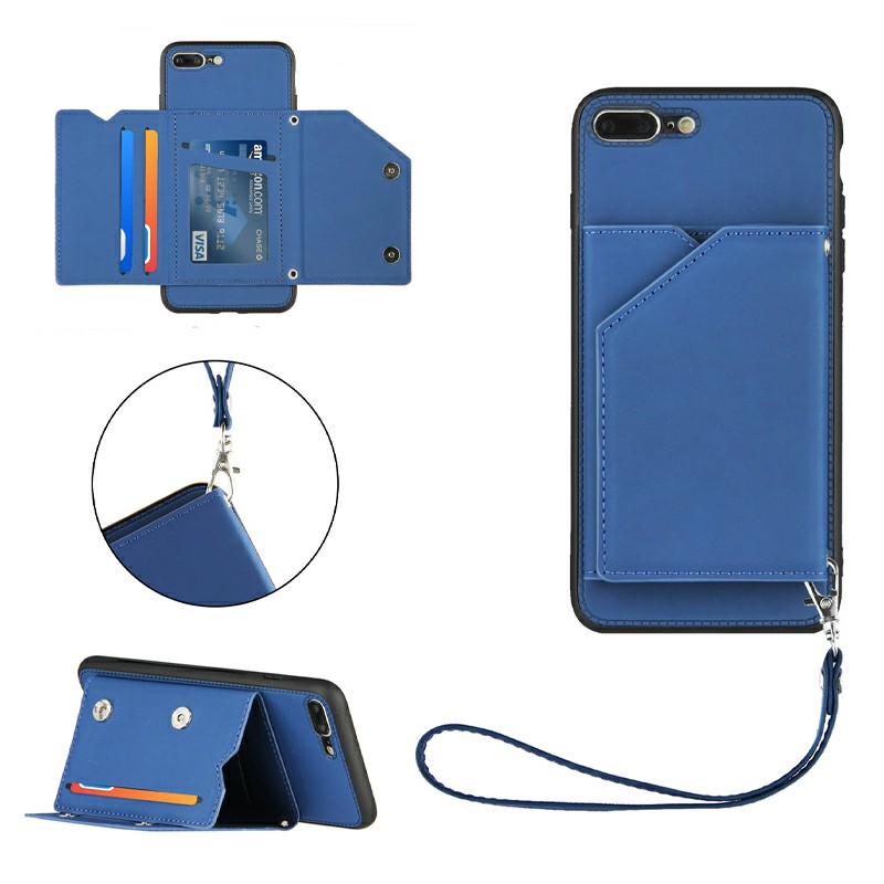 PU Leather Folio Stand Cover Case with Lanyard for iPhone 7 Plus and iPhone 8 Plus - Black