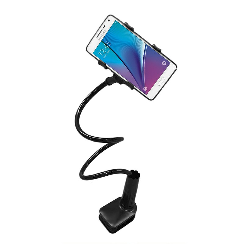 Flexible Long Arms Desktop Lazy Bracket with Clip Head Mobile Stand - Black