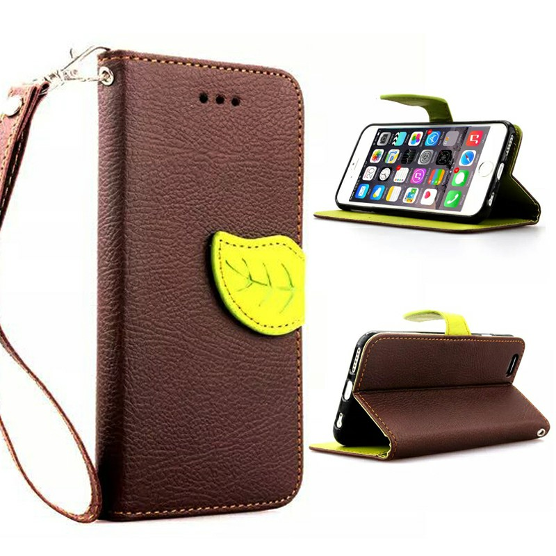 Leaf Clasp Magnetic Stand Flip Leather Case Cover for iPhone 6S - Brown
