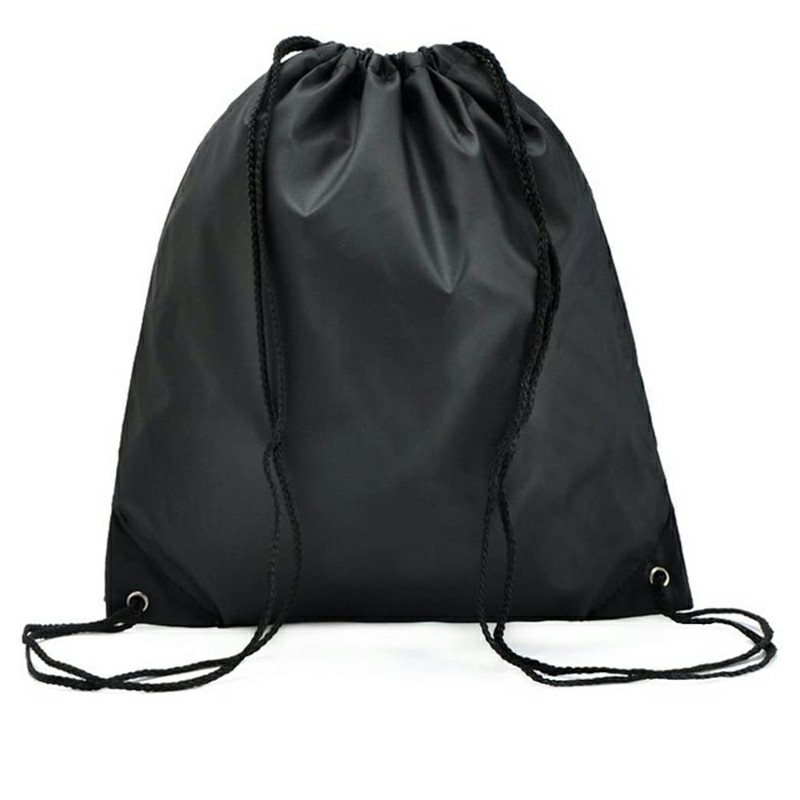 Folding Sport Backpack Drawstring Bag Home Travel Storage Organizor - Black