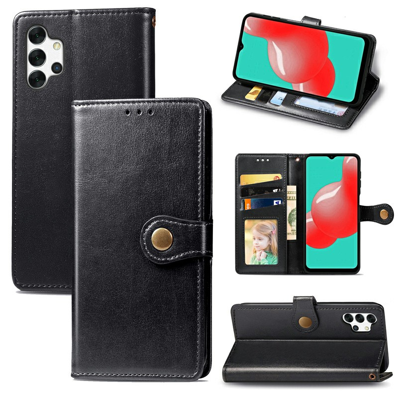 Magnetic Closure PU Leather Wallet Case Cover for Samsung Galaxy A32 5G - Black