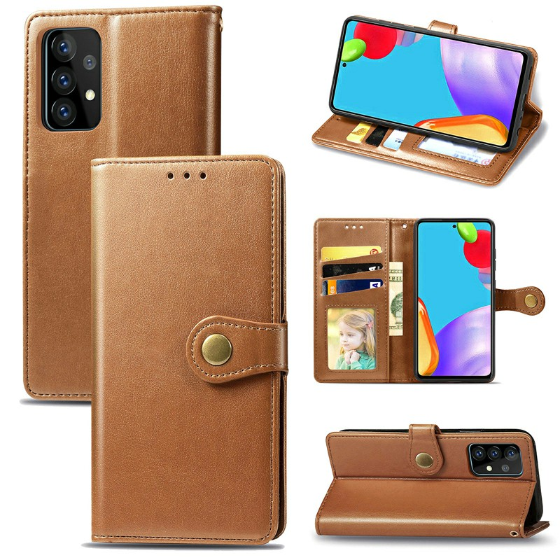 Magnetic Closure PU Leather Wallet Case Cover for Samsung Galaxy A52 - Brown