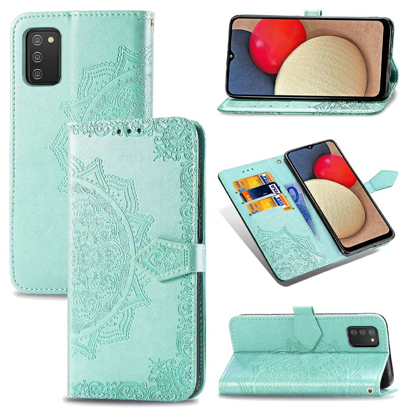 Datura Flower Embossed Pattern Leather Flip Stand Case for Samsung Galaxy A02S - Green