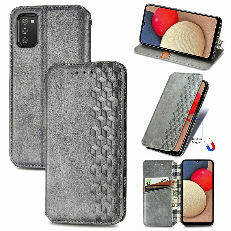 Magnetic PU Leather Wallet Case Flip Stand Cover for Samsung Galaxy A02S - Grey
