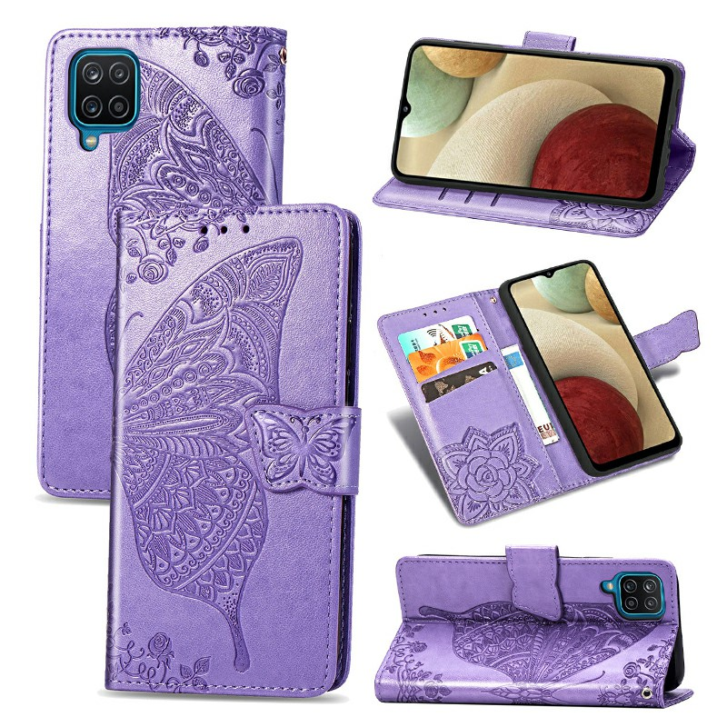 Butterfly Embossed Pattern Leather Flip Stand Case for Samsung Galaxy A12 - Purple