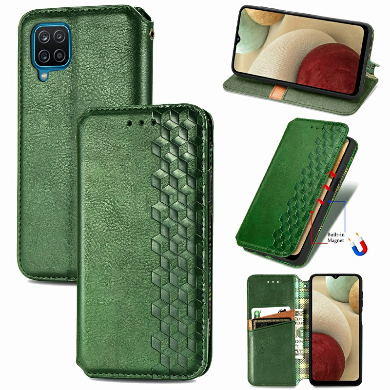 Wallet Card Case Magnetic PU Leather Flip Cover for Samsung Galaxy A12 - Green