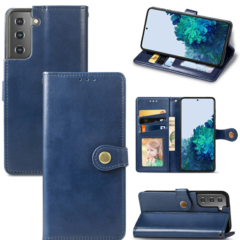 Magnetic PU Leather Wallet Card Case Cover for Samsung Galaxy S21 - Blue