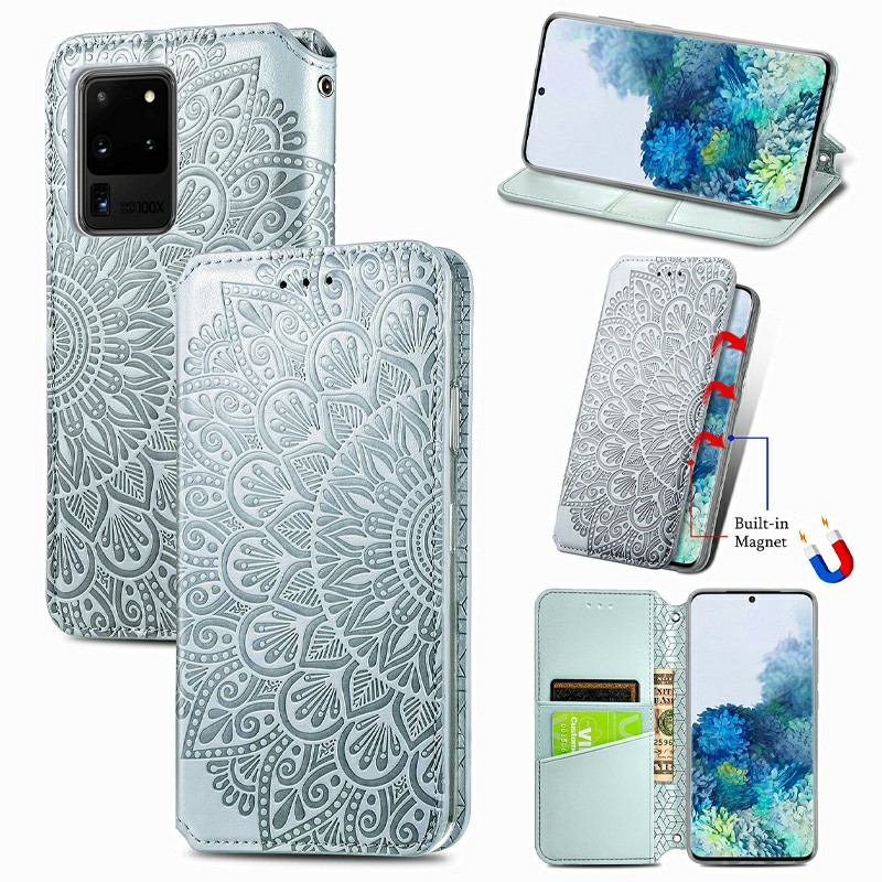 Magnetic PU Cover Leather Wallet Card Case for Samsung Galaxy S20 Ultra - Grey