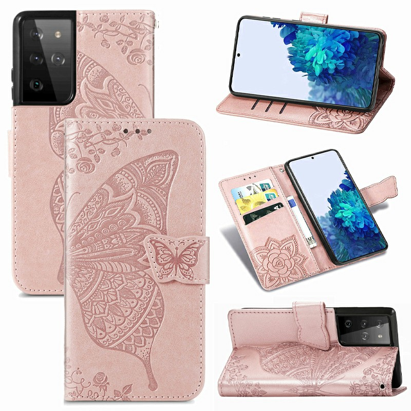 Fashion Clover Pattern PU Leather Wallet Card Case Cover for Samsung Galaxy S21 Ultra - Rose Gold