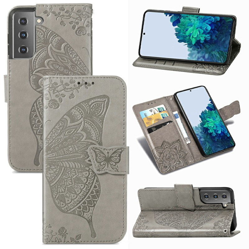 PU Leather Wallet Card Case Cover Fashion Clover Pattern for Samsung Galaxy S21 - Grey