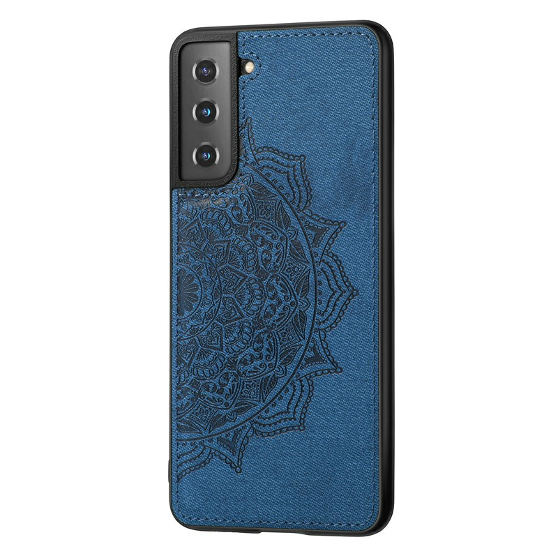 PU Leather Wallet Case Cover Fashion Four-leaf Clover Pattern for Samsung Galaxy S21 Plus - Blue