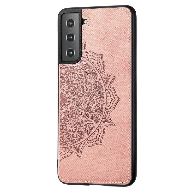 Fashion Four-leaf Clover Pattern PU Leather Wallet Case Cover for Samsung Galaxy S21 - Rose Gold