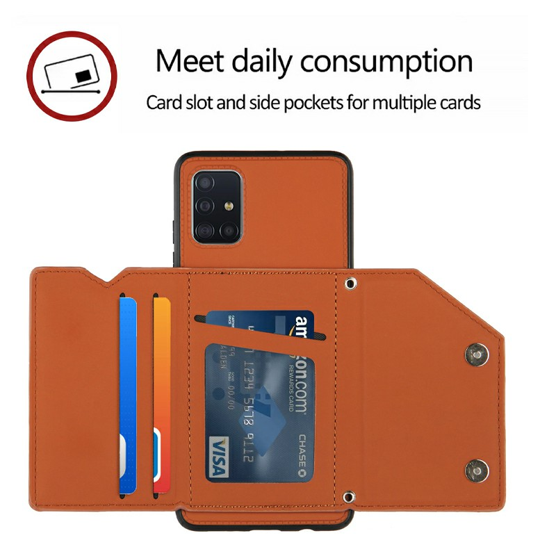 PU Leather Folio Stand Cover Case with Lanyard for Samsung Galaxy A51 - Brown