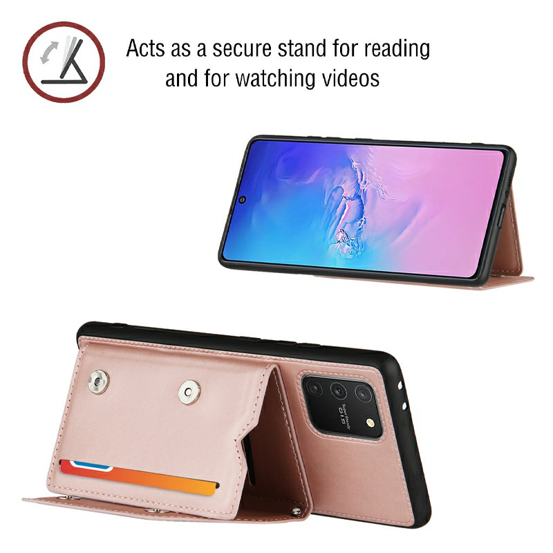 Folio Stand Cover Case PU Leather Back Cover with Lanyard for Samsung Galaxy M80S A91 S10 Lite - Rose Gold