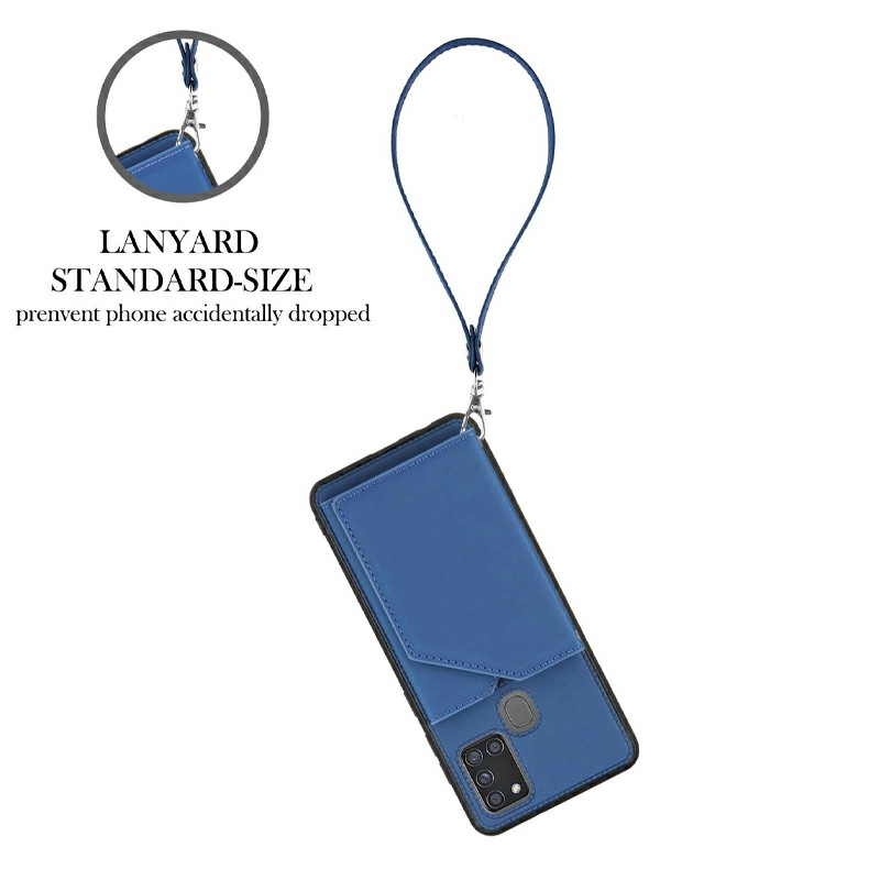 Folio Stand Cover Case PU Leather Back Cover with Lanyard for Samsung Galaxy A21S - Blue