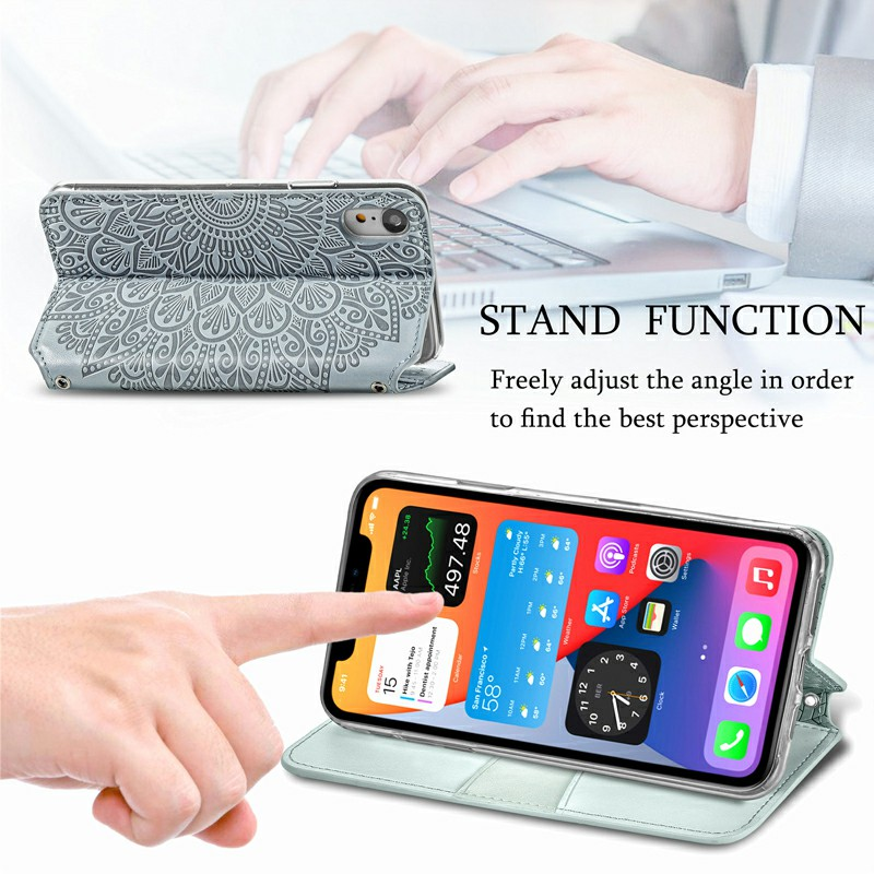 Wallet Card Case Magnetic PU Leather Cover for iPhone XR - Grey