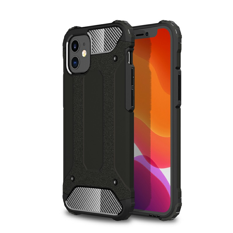 Rugged Armor TPU + PC Protective Back Case for iPhone 12 Mini - Black